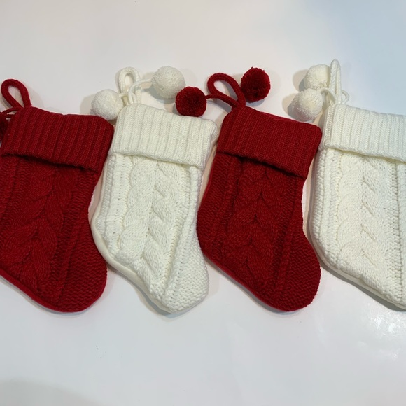 Cable Knit Christmas Stockings.Set Of 4 Small Cable Knit Christmas Stockings
